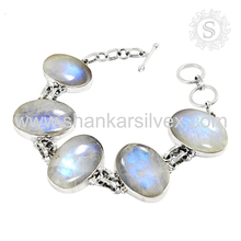 Superb rainbow moonstone bracelet silver jewelry 925 sterling silver handmade jewellery wholesale suppliers