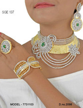Bridal Necklace set combo with earring ring and bracelet for nigeria market