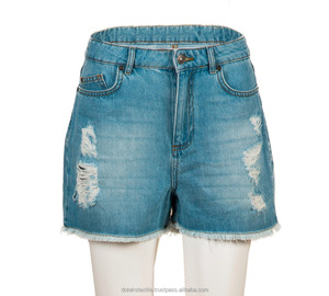 Ripped & Bleached Denim Shorts - First Quality Export Leftover In Stock Jeans - 1163