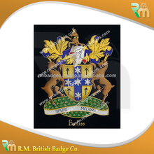 Family crest emblem blazer badge/hand made Family coat of arms/bullion wire Australian crest