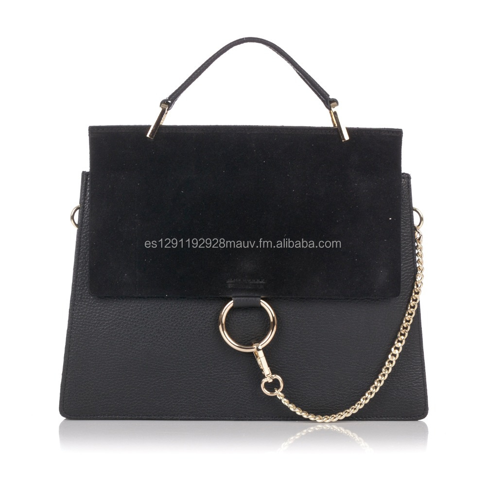 Genuine Leather Handbag with suede leather frontal flap and metal details