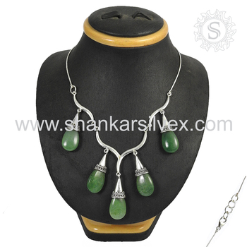 Beautiful green jade gemstone necklace handmade silver jewelry 925 sterling silver wholesale jewellery online