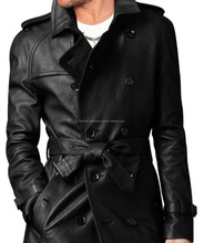 Handmade men leather trench coat Mens belted long leather coat Mens jackets