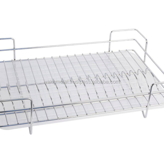 Single Tier Dish Rack with Plastic Tray