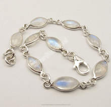 "925 Sterling Silver MARQUISE RAINBOW MOONSTONE LOVELY Hand Bracelet 7.9"" 6.1 Grams"