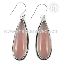 New vintage rose quartz gemstone earring jewelry wholesaler 925 silver jewelry supplier