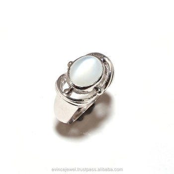 Sterling Silver Natural Gemstone Moonstone Rings Jewelry