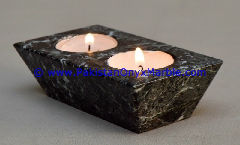 Wedding table centerpieces marble candle holders Rectangle shaped stands tea lights