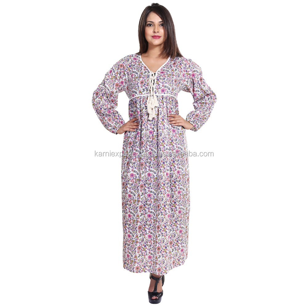 2017 latest long maxi dress floral printed long sleeve maxi gown for women