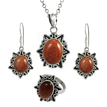 Fascinating Brown Sunstone Gemstone Set Wholesale 925 Silver Jewelry Manufacturer Indian Silver Jewelry