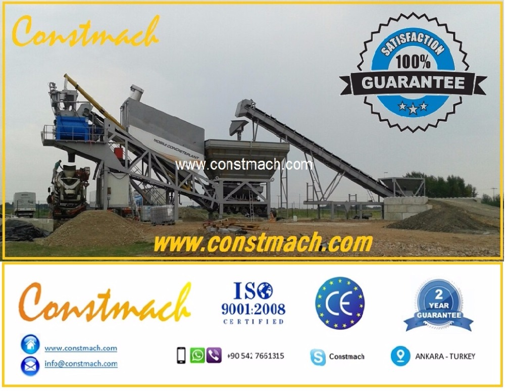 PORTABLE CONCRETE PLANT, 90 m3/h, CEMENT FACTORY FOR SALE, MADE IN TURKEY 2 YEARS WARRANTY CALL NOW