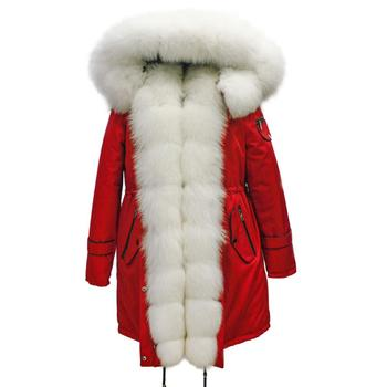 Womens Red White Fur Coats Detachable Hooded Collar Trim Real Fox Fur Parka