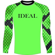 Custom logo printing option with snake skin arm fashion rash guard manufacturer from ideal enterprises