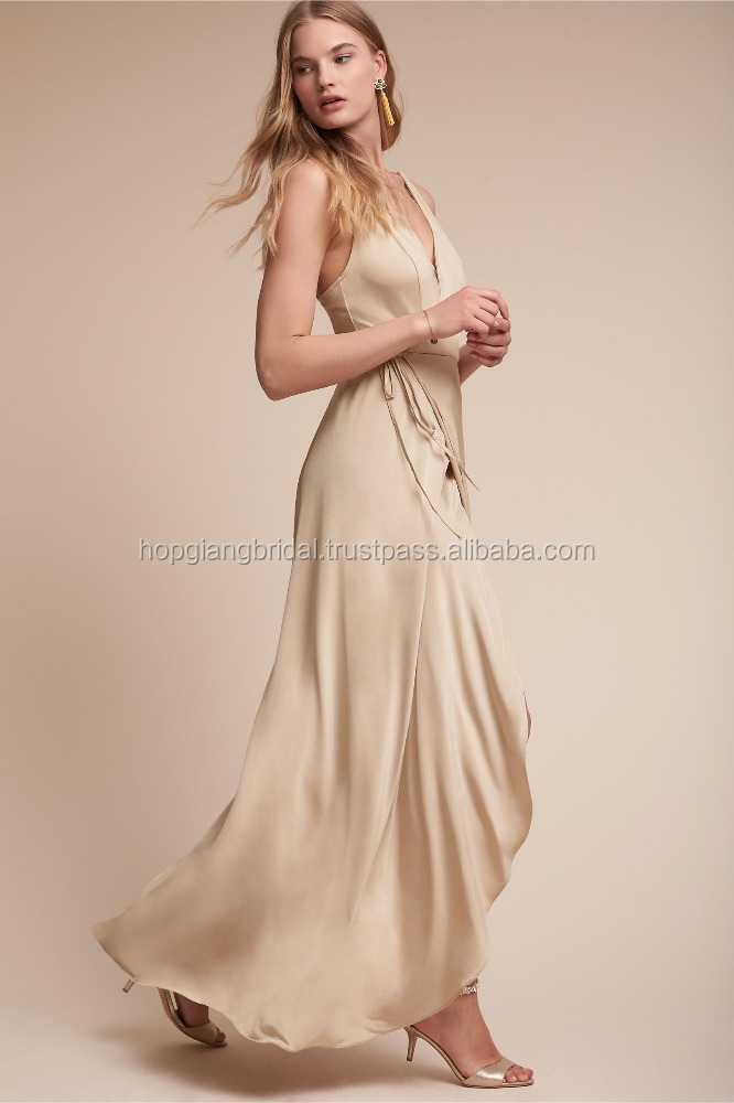HOT Sales Classic Low Back Wrap V Neckline Wedding Bridesmaid Dress Patterns
