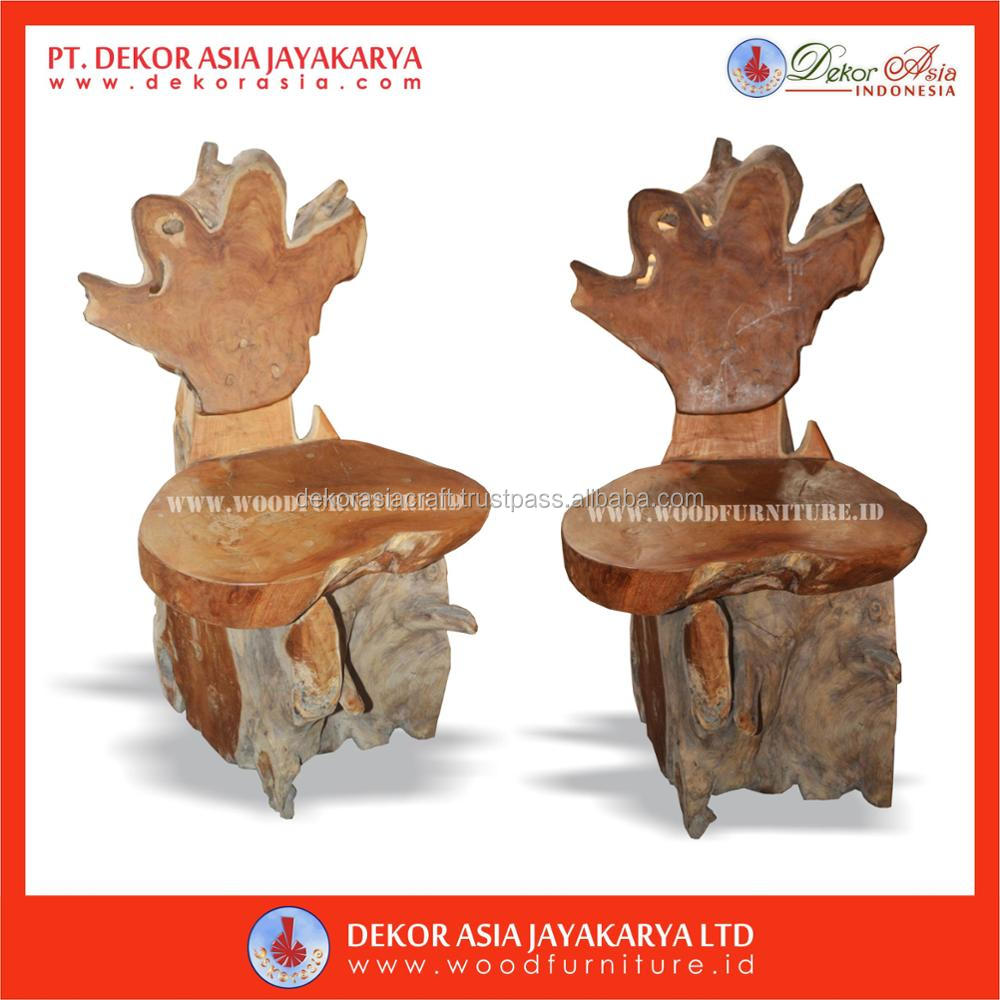 Teak Root Stool ( Teak Root Carved Stool - Teak & Root Wood Furniture )