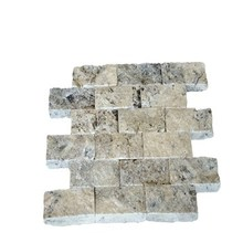 Best Price Natural Stone 5x10 cm Silver Travertine Marble Split Face Mosaic Tiles