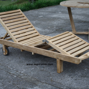 Indonesia Modern Outdoor Furniture Teak Wooden Sun Lounger