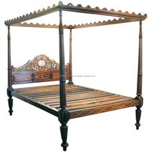 Wooden Furniture Bedroom Furniture Carved Headboard Canopy Double Bed