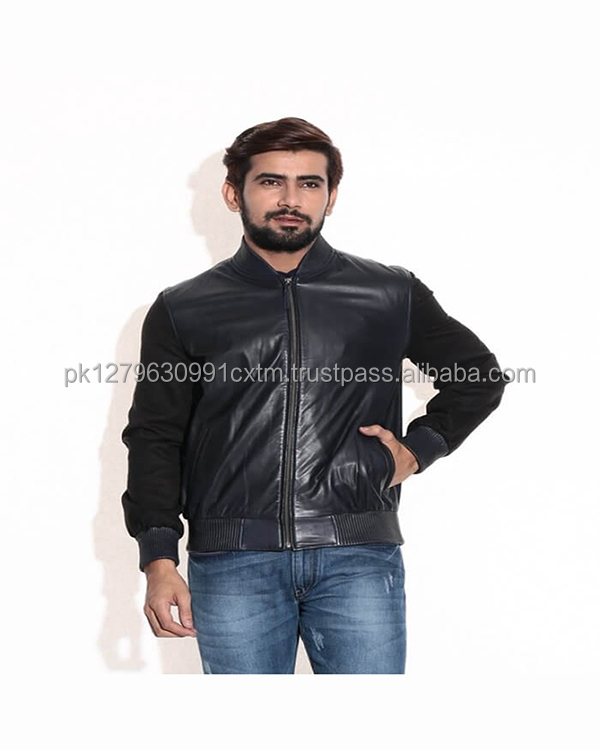 Navy Blue College Leather Jacket For Men Top Quality Pure Sheep Leather Whole Sale Price