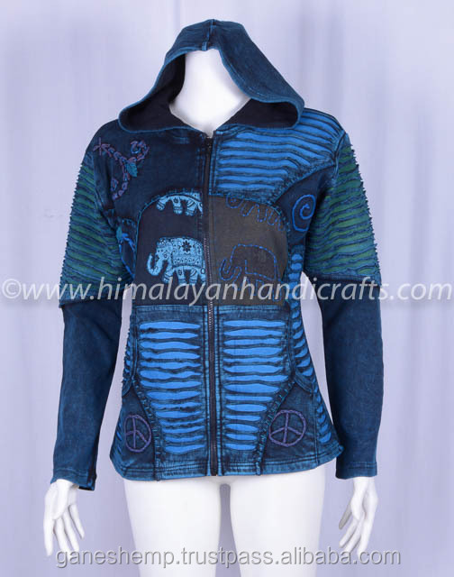 BLUE STYLISH RAZORCUT ENZYME WASH BOHEMIAN LADIES HOODIE CSWJ 463