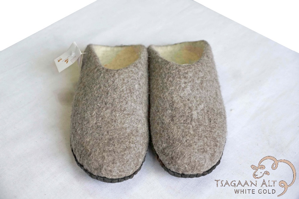 Mongolian 100% wool felt warm slipper