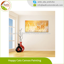 2017 Factory Direct High Quality Happy Cats Canvas Painting Art