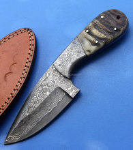 Hand Made Damascus Steel Skinner Knife with Ram Horn Handle and Damascus Bolsters SK-296
