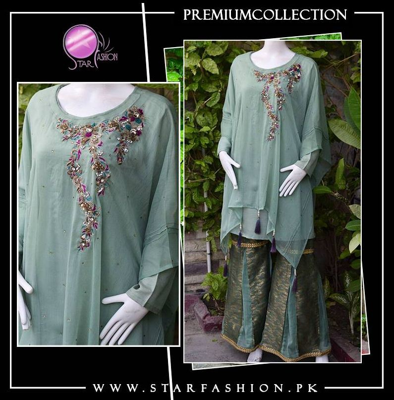 Western fusion with eastern unique touch Green Blossoms cape style with ghararah pants. Fine embroidery and embellishment work.