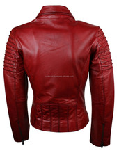 Ladies Women Genuine Real Leather Slim Fit Red Biker Jacket/ Bet quality by taidoc intl