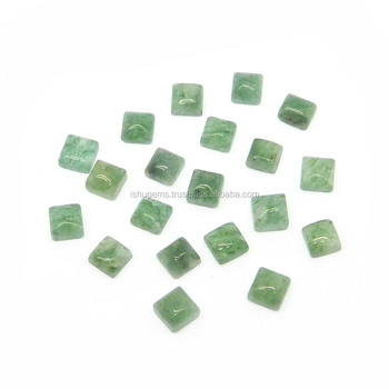 Green aventurine semi precious 4x4mm square cabochon 0.50 cts loose gemstone for jewelry