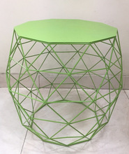 Green Colored Metal Side Table For Bed Room