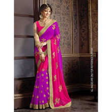 Wedding Wear Purple And Pink Faux Georgette Embroidered Half & Half saree
