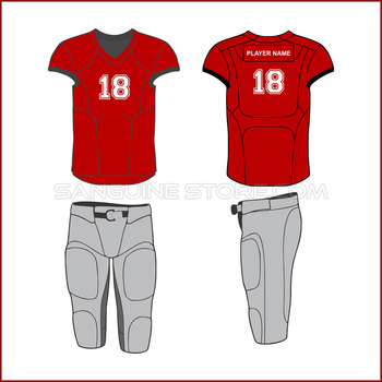 very popular red american football uniform with sublimated numbers and play name patches