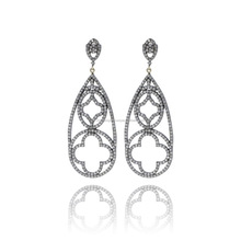 14K Gold 925 Sterling Silver Latest Designer Dangle Earrings, Wholesale Pave Diamond Jewelry Supplier