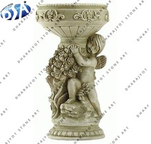hand carved marble flower pot with angle statue
