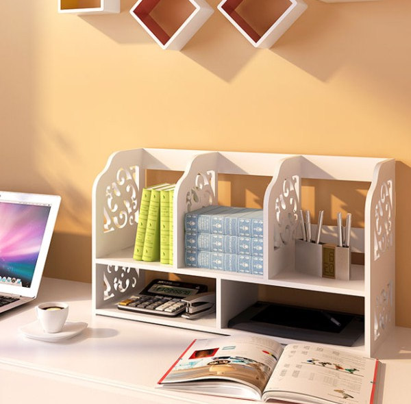 Malaysia Best Selling Elegant Crafted Waterproof Bookcase Book Shelf Rack on Computer Desk or Office Table