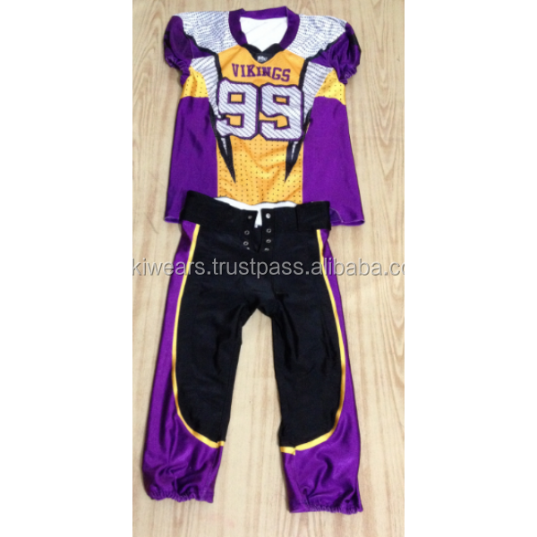 2017 Wholesale youth american football uniforms / cheap custom sublimation football jerseys/AT NOKI