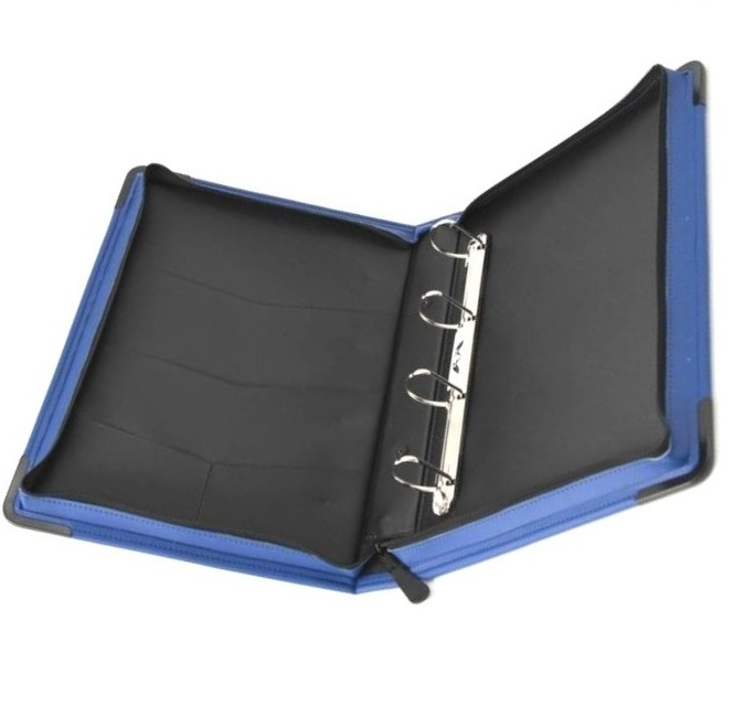 Leather zipper file with 4 ring binder