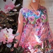painted silk dress long sleeveless pink black and purple motif landscape birds and flowers in size L.