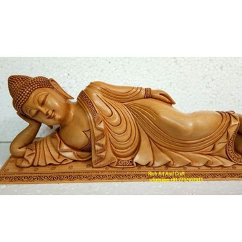 wood carved wooden handicraft Jaipur Buddha statue rajasthan India Rich Art and craft