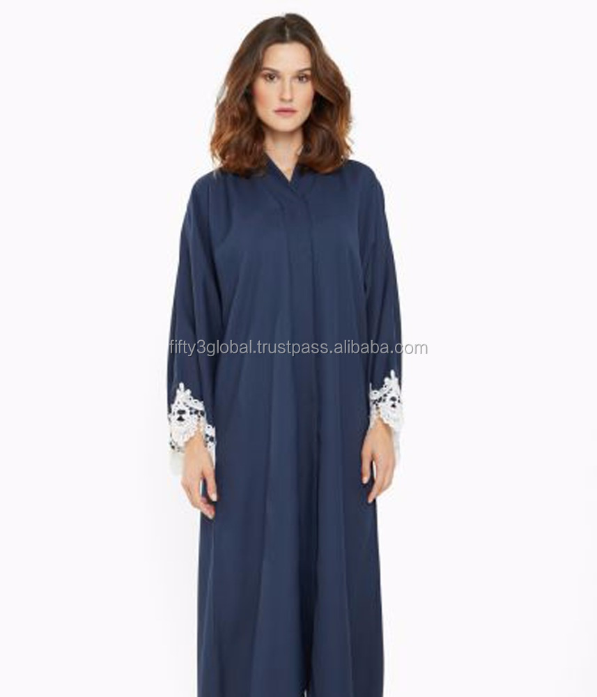 Unique Style Abaya Denim Blue Colour With Lace Very Beautiful Abaya