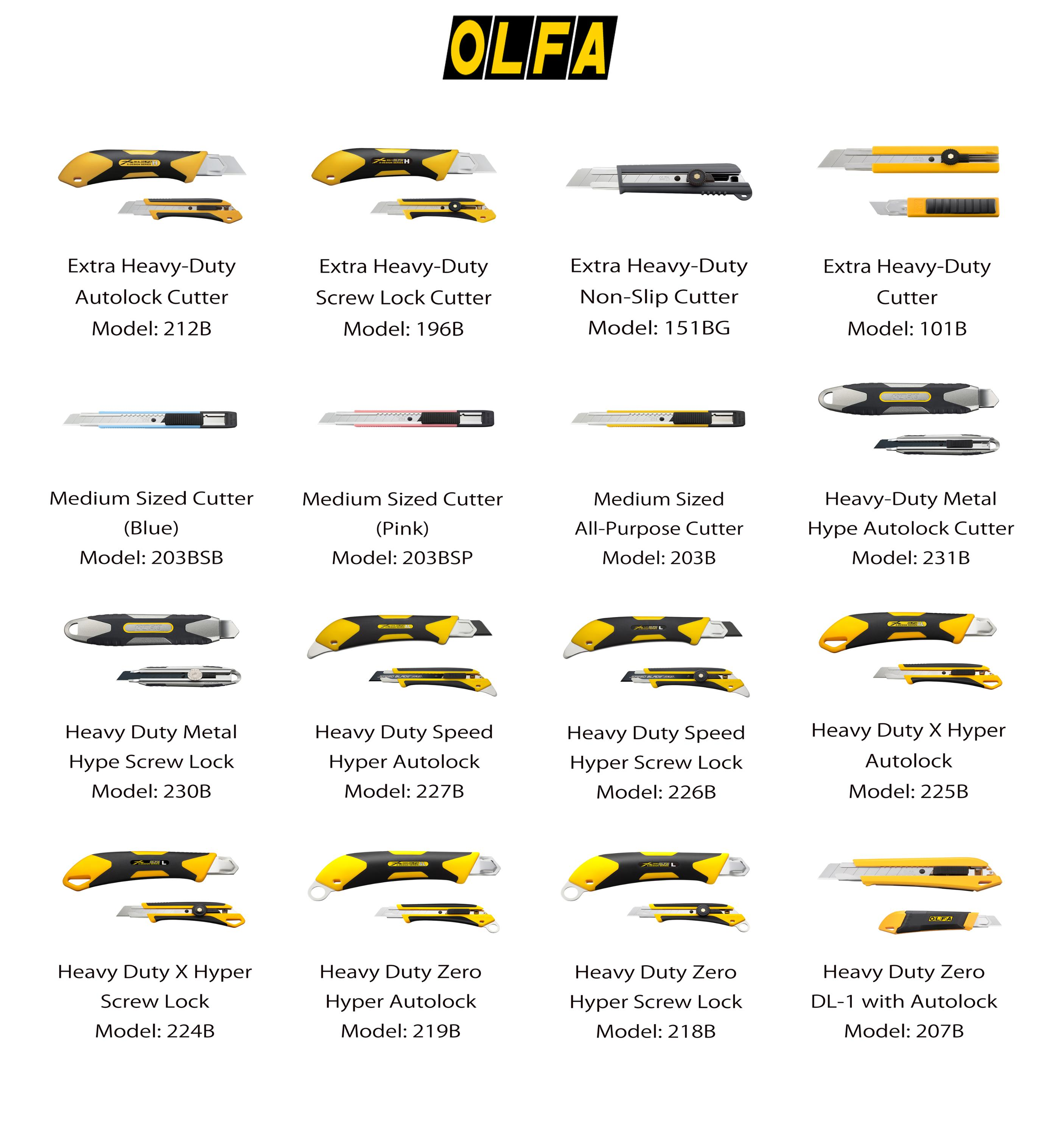 Olfa Cutting Tools, Blades and Utility Knife. Made in Japan