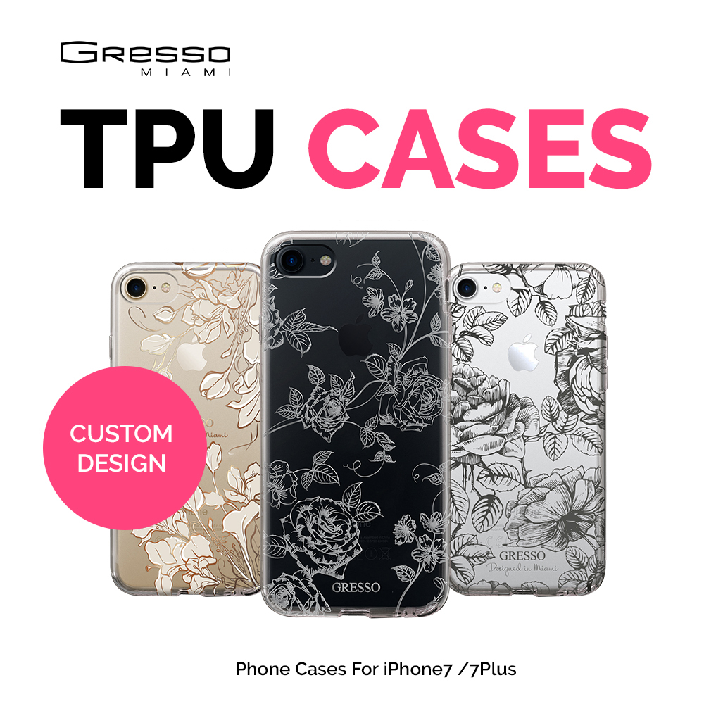 Transparent TPU Wallet Case for iPhone 8 7 6s 6 Plus with Roses Flowers Printing Wholesale OEM