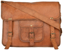 Prastara Leather Messenger Vintage Bag For Man And Women For 15 Inch Laptop Briefcase Office Bag