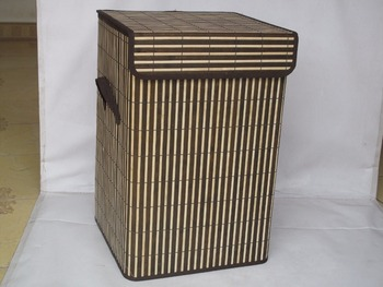 bamboo stored basket with lid