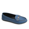 Elegant women moccasin flat shoes with buckle accessories