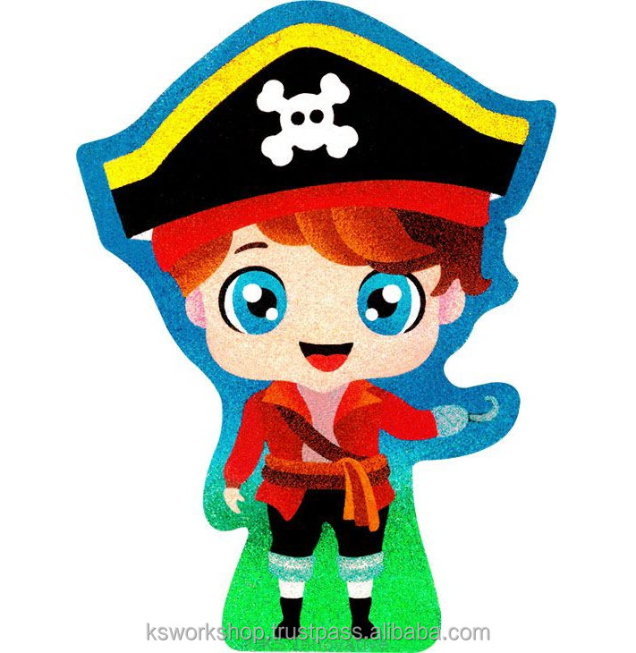 Sand Art Theme Park - Pirate - Kids Craft Educational Toys - Sand Painting Sticker Cards