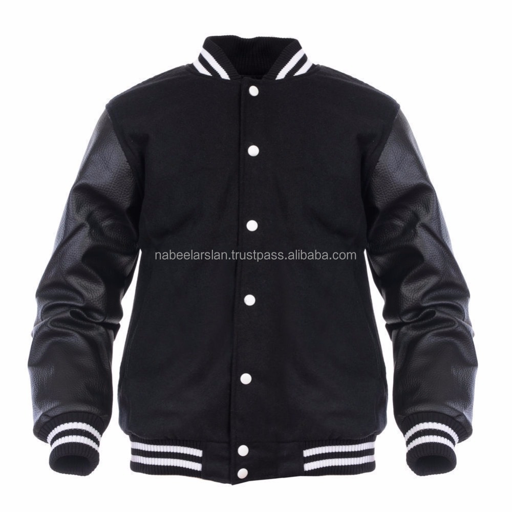 New Varsity Letterman Wool Jacket with Leather Sleeves