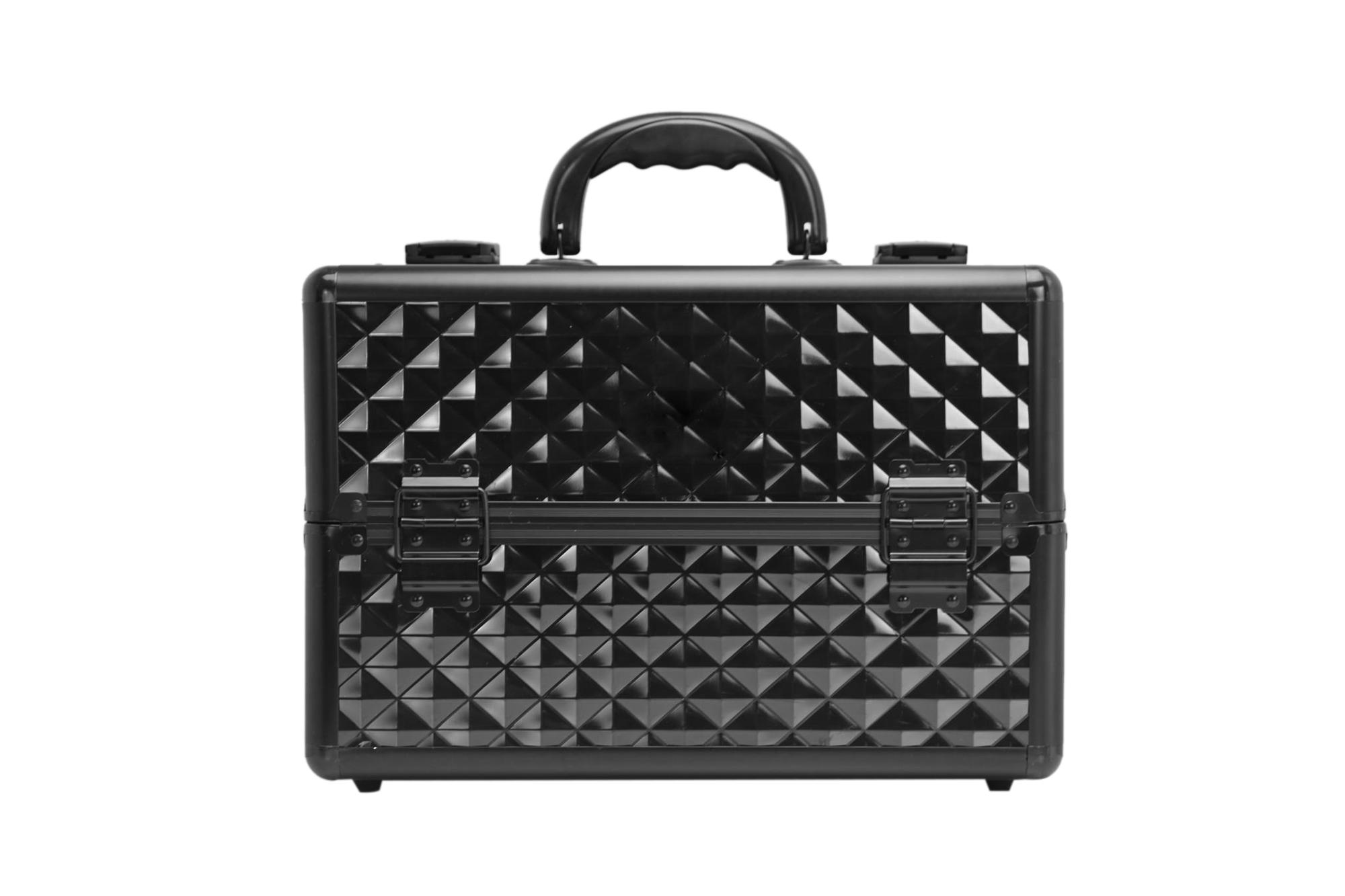 Black PVC leather panel Cosmetics Case Makeup Suitcase