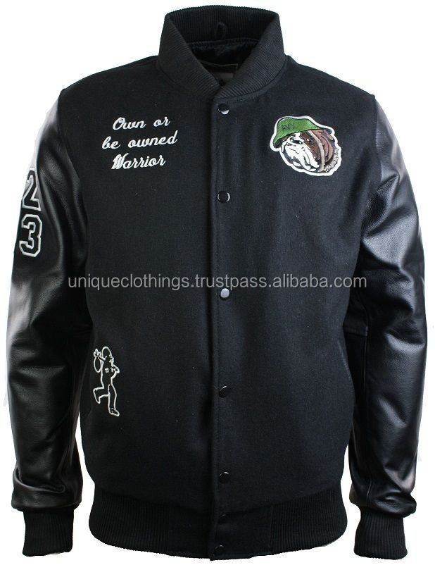 Mens Black College Varsity Baseball Jacket,Real Leather Sleeves ...